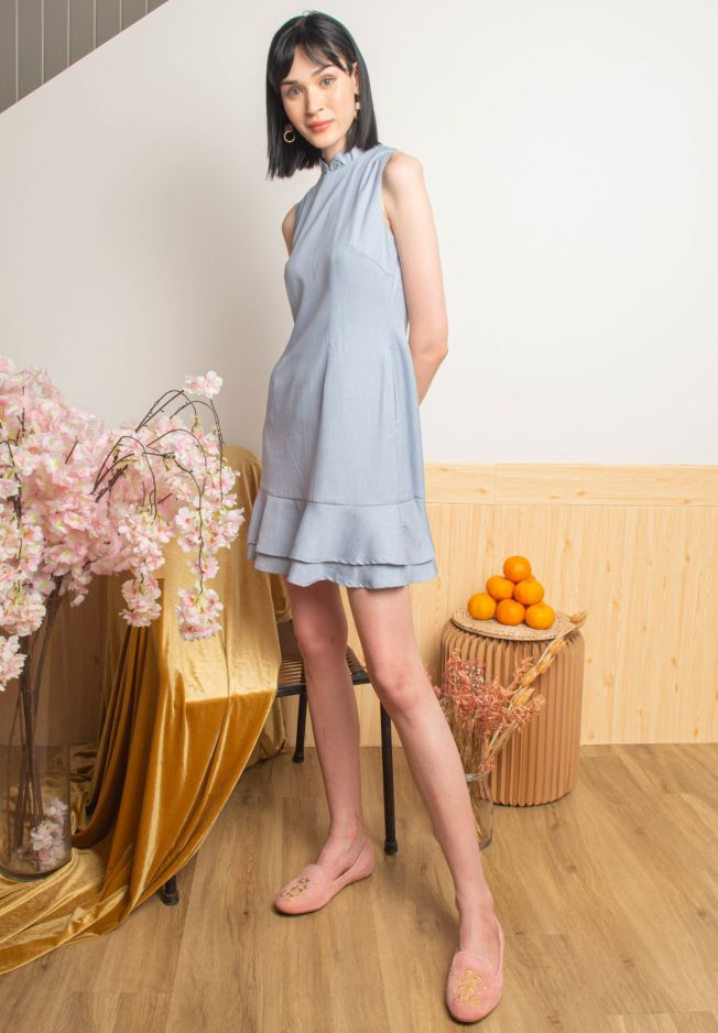 MEI DETACHABLE COLLAR CHEONGSAM DRESS