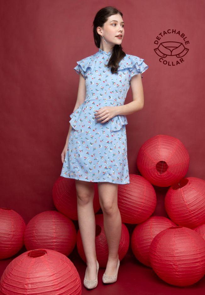 GWYNETH DETACHABLE COLLAR CHEONGSAM DRESS